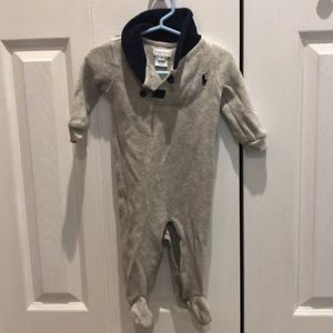 Ralph Lauren 9mo sweater onesie gray and blue